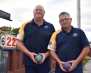 Men's champion of champion pairs winners Steve Wilson (left) and Steve Fleming, of Forbury Park,...