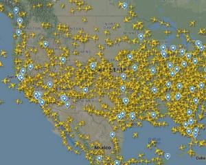 Flight Radar showed that at least 1500 flights were operating in the US. Photo / Flight Radar