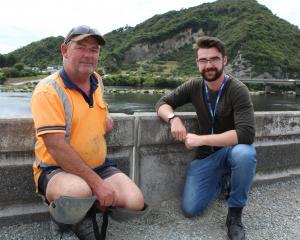 Liddells site foreman Jamie Rees with West Coast Regional Council engineering officer Jamie Bell...