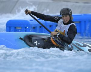 Luuka Jones in action at the Canoe Slalom NHK Trophy at the Kasai Slalom centre in Japan last...