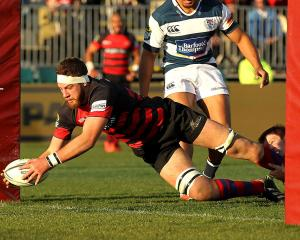 Joel Everson dives over to score for Canterbury against Auckland during an ITM Cup match in...