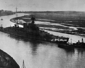 The £6 million cruiser HMS Hood leaving the Clyde for her trial trip. She is 260 metres long,...