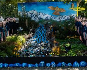Proud West Eyreton School pupils with their eye-catching creation. Photo: Rachel MacDonald