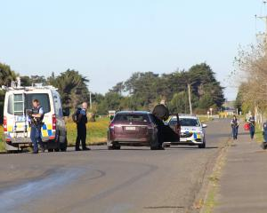 Invercargill police attend a callout in Bain St, Invercargill, yesterday after neighbours...