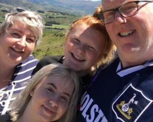 Danish exchange student Caroline Berg (bottom) with her host family on summer holiday in December...