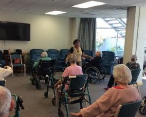 Windsorcare Shirley residents take part in an exercise class during the lockdown. Photo: Supplied