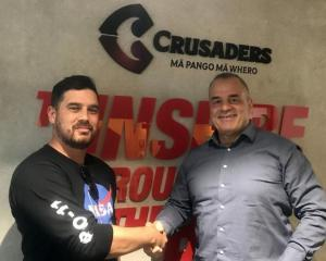 Rugby writer Jamie Wall with Crusaders chief executive Colin Mansbridge Photo: Supplied