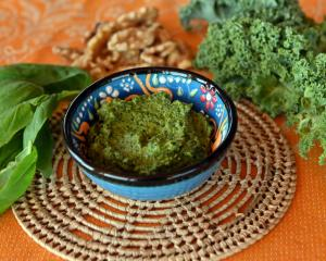 Kale and white miso pesto. Photos: Linda Robertson