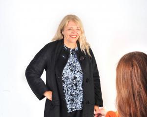 Margot Barton models a jacket. Photo: Christine O'Connor