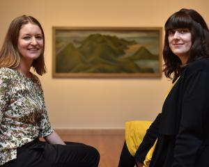Dunedin Public Art Gallery curators Lucy Hammond (left) and Laura Gutsell enjoy the Colin McCahon...