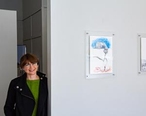 Nicola Hansby with works from her ''Exquisite Corpse'' exhibition. Photos: Supplied