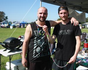 Matt Hayman (left) and Cameron Davies completed 200 laps of the circuit for the Waimate Relay for...