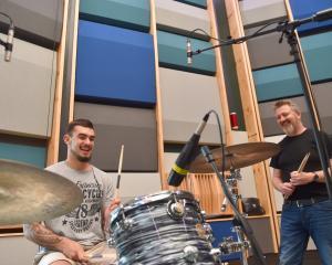 University of Otago advanced drum student Jade Zaia (left) and his teacher Carl Woodward enjoy...