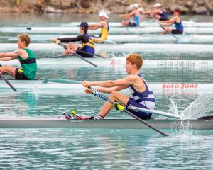 Reuben Cook (foreground) displays the style which won him three medals at the South Island...