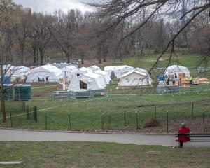 An emergency field hospital has sprung up in New York's Central Park. Photo: Reuters