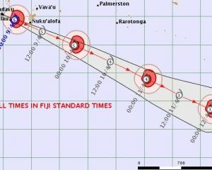 Tropical cyclone Harold strengthened this morning to a category 5 again. Photo: Fiji...