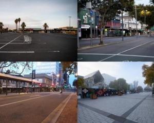 Empty streets across New Zealand (clockwise, from top left) in Auckland, Wellington, Christchurch...