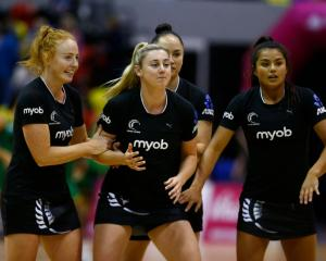 Silver Ferns player (from left Sam Sinclair, Gina Crampton, Whitney Souness and Kimiora Poi) were...