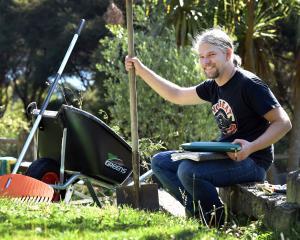Dunedin chef  Hannes Bareiter is enjoying  working  in his Otago peninsula garden during lockdown...