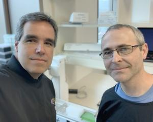 Prof Miguel Quinones-Mateu (left) and Dr Rhodri Harfoot, of the University of Otago microbiology...