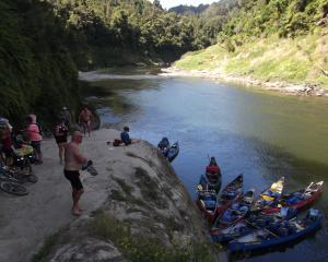 An assortment of travellers prepare to leave Mangapurua Landing by various means. PHOTOS: ELEANOR...