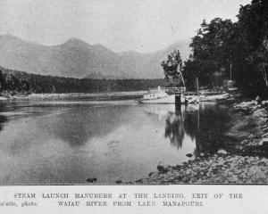 The steam launch ''Manurere'' at the landing exit of the Waiau River from Lake Manapouri. — Otago...