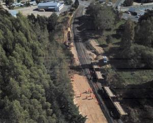 Two wagons of the train derailed at Clinton last year. Photo: TAIC