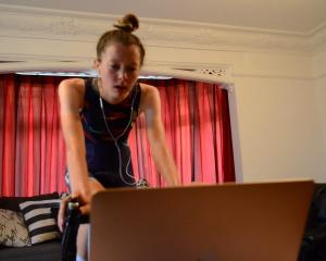Dunedin cyclist Ella Harris trains in the comfort of her parents' living room. PHOTO: SUPPLIED