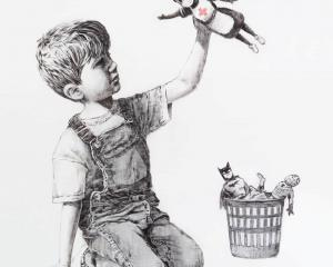 "A picture shows a drawing created by the street artist Banksy called ""Game Changer"". Photo: ..."