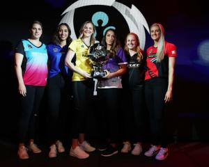 ANZ Premiership captains (from left) Te Huinga Reo Selby-Rickit of the Southern Steel, Phoenix...