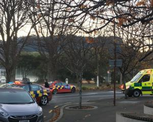 Emergency services at the scene of the crash this morning. Photo: Emma Perry