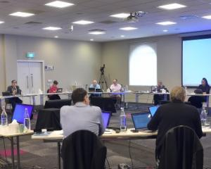 Debating from a safe distance ... Dunedin city councillors began deliberations on this year's...