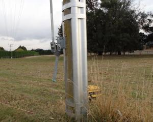 A metal fitting designed to stabilise power poles between Wanaka and Cromwell. PHOTO: MARK PRICE