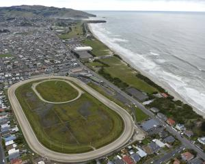 Forbury Park dominates the foreground in this 2017 aerial view of Dunedin's south coast. PHOTO:...