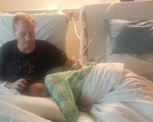 Gareth and Diana Milne in Auckland City Hospital in 2013, shortly before Diana died from breast...