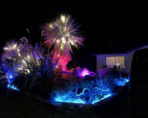 Luma crew member Simon Holden has set up light installations in his front yard in the resort....