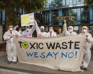 Prebbleton residents fighting the proposed waste plant expansion. ​Photo: Geoff Sloan