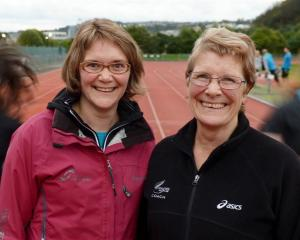 Joan Merrilees (right) and Megan Gibbons train athletes at the Caledonian Ground. Photo by Gerard...