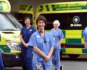 Dunedin Hospital intensive care nurses among those marking International Nurses Day (from left)...