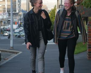 Otago Polytechnic students Nicole Ruske (20, left), of Dunedin, and Lana Evans (19), of...