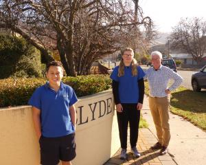 Year 8 pupils Zavier Robb and Ellie King (both 12), along with Clyde Primary School principal...