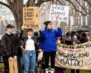 Black Lives Matter protest at Cathedral Square in Christchurch on 1 June 2020. Photo: RNZ...