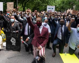 Protesters march to George Floyd's funeral. Photo: Getty Images