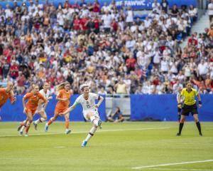 Megan Rapinoe of the US scores during the final of 2019 Women's World Cup in France. Photo: Getty...