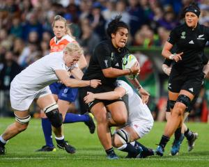 Victoria Subritzky-Nafatali (with ball) during the 2017 Women's Rugby World Cup final. Photo:...