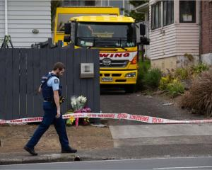 Police at the scene of Tania Hadley's alleged murder in Mt Roskill. Photo: NZ Herald