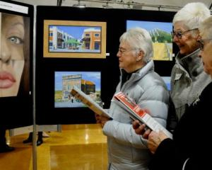 Alma Crosswell, right, with Di Gillanders and Valerie McClatchy, all of Rangiora, observe Ryan...