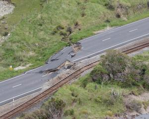 The earthquake-damaged Kaikoura highway in 2016, set to be re-finished this year. Photo: Getty...