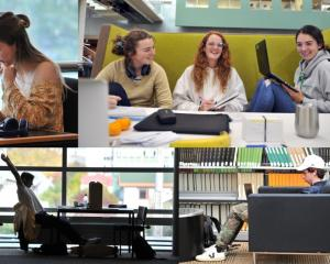 Studying for exams ... University of Otago students (clockwise from top left) Ella Redmond (20),...