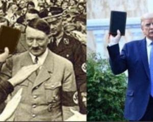 A historic photo of Adolf Hitler digitally altered to show him holding a Bible, with 